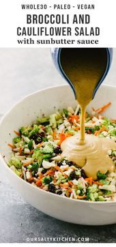 Broccoli and cauliflower salad with sun butter sauce