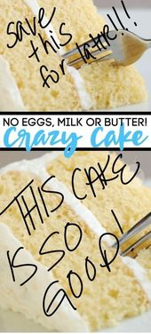 Crazy vanilla cake you can make without eggs, milk or butter