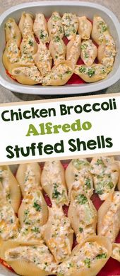 Recipe of shells stuffed with chicken Alfredo