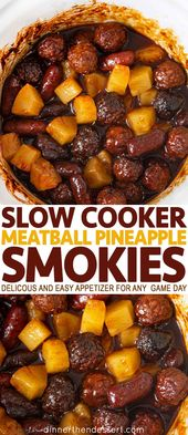 The slow cooker pineapple and meatball Smokies are a …