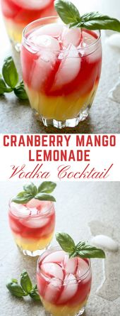 Vodka cocktail with cranberry and mango lemonade #healthydrink #cocktail